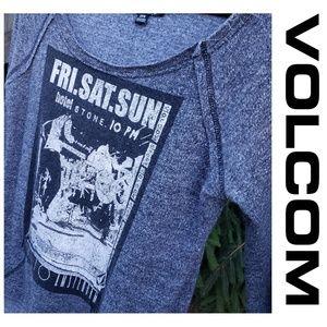 Volcom Hotel Stone Gray Graphic Sweatshirt Small